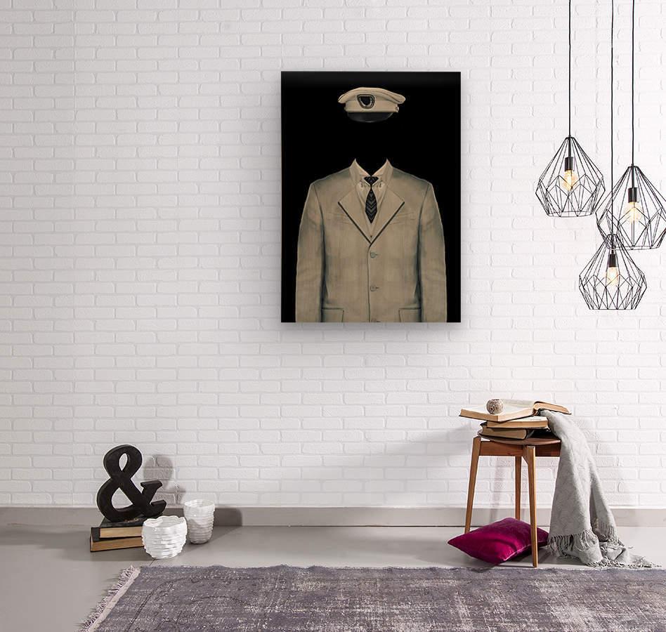 Surreal Officer Man Portrait  Wood print