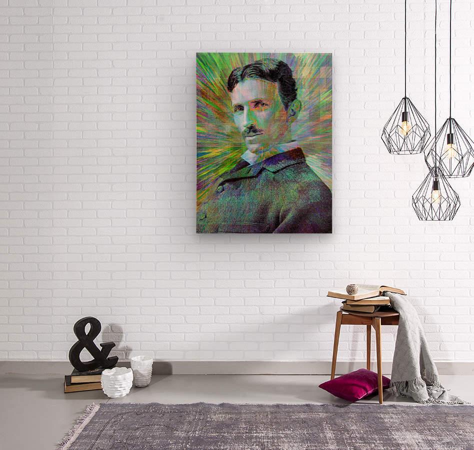 Electric Tesla  Wood print