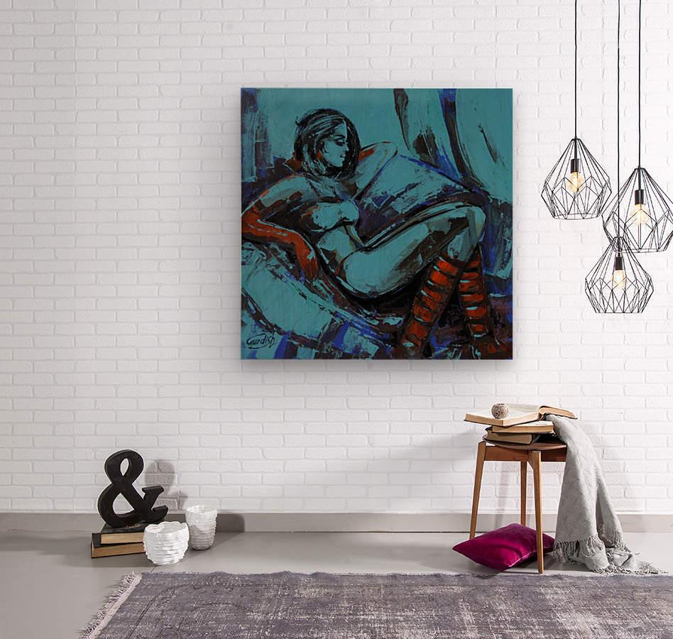 The light behind her window -7 -18x18  Wood print