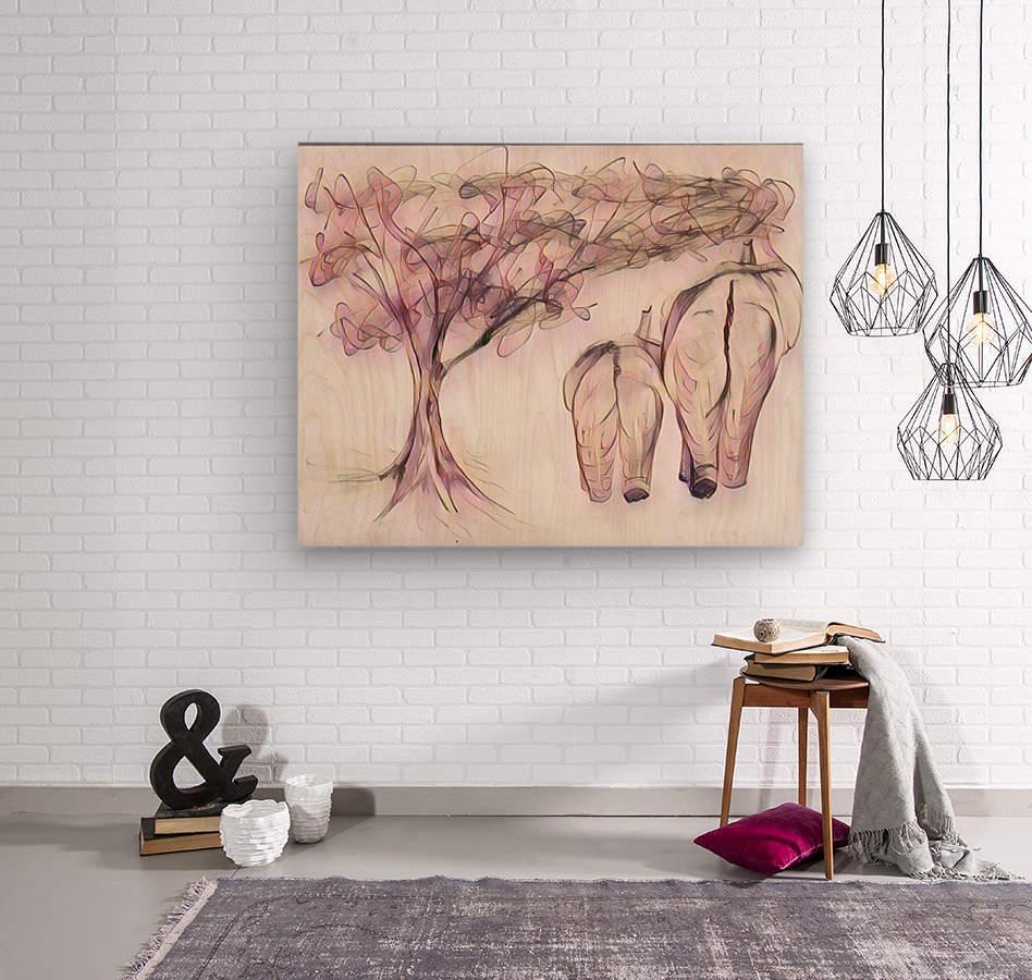 Arbre A Chat Mural Design Éléphant et arbre - biji sylvie faucher - canvas artwork