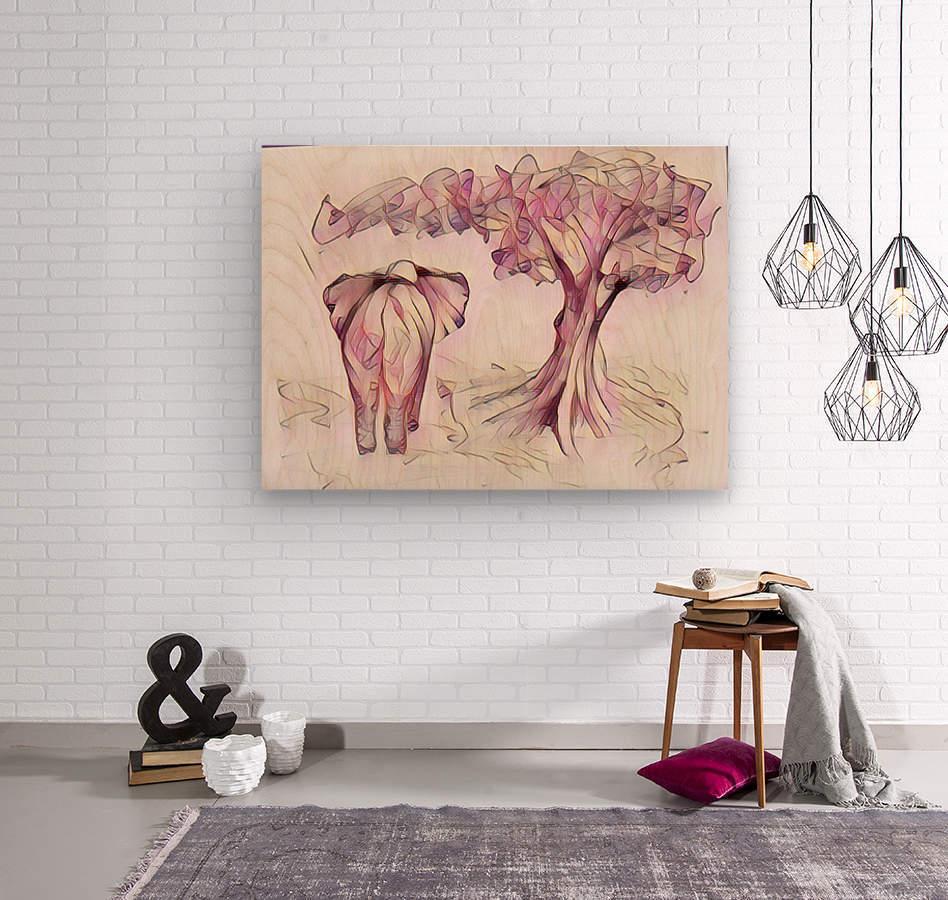 Léléphant sous larbre  Wood print