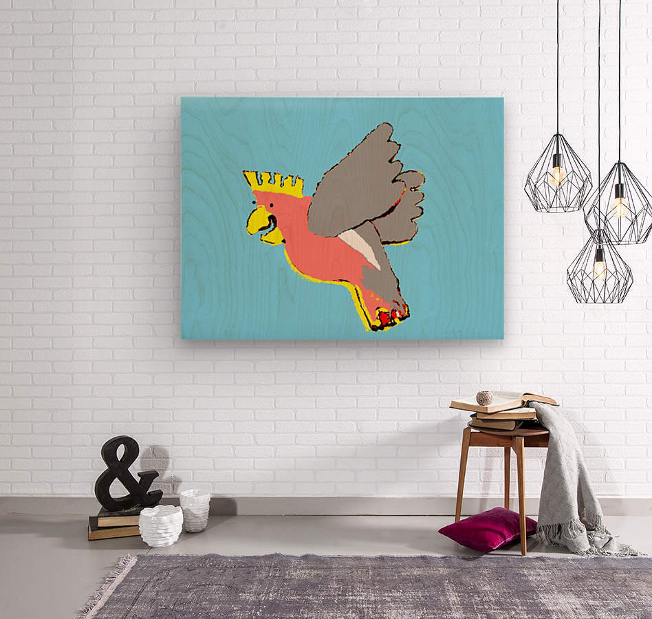 Laughing Galah - Blue  Wood print
