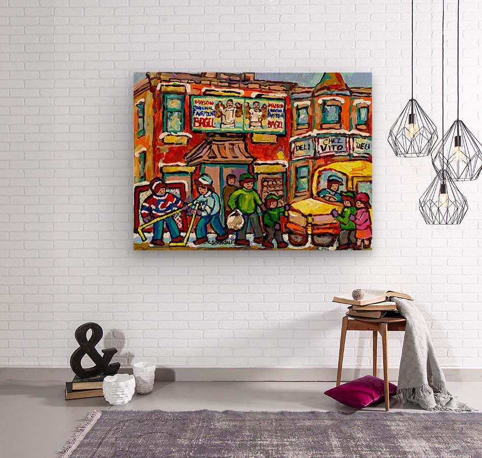 FAIRMOUNT BAGEL MONTREAL PAINTING CHEZ VITO WINTER CITY SCENE  Wood print