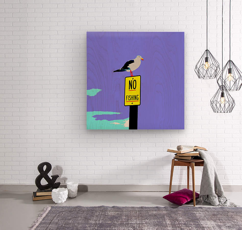 NO Fishing - Blue  Wood print