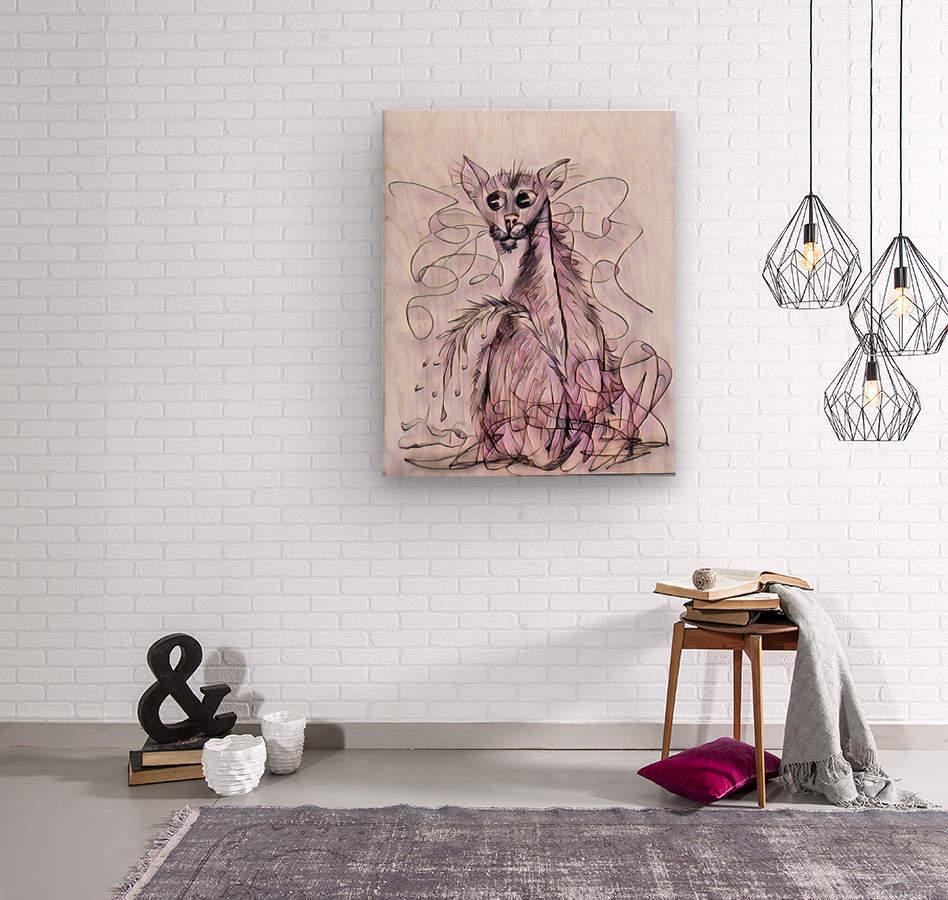 chat mouillé  Wood print