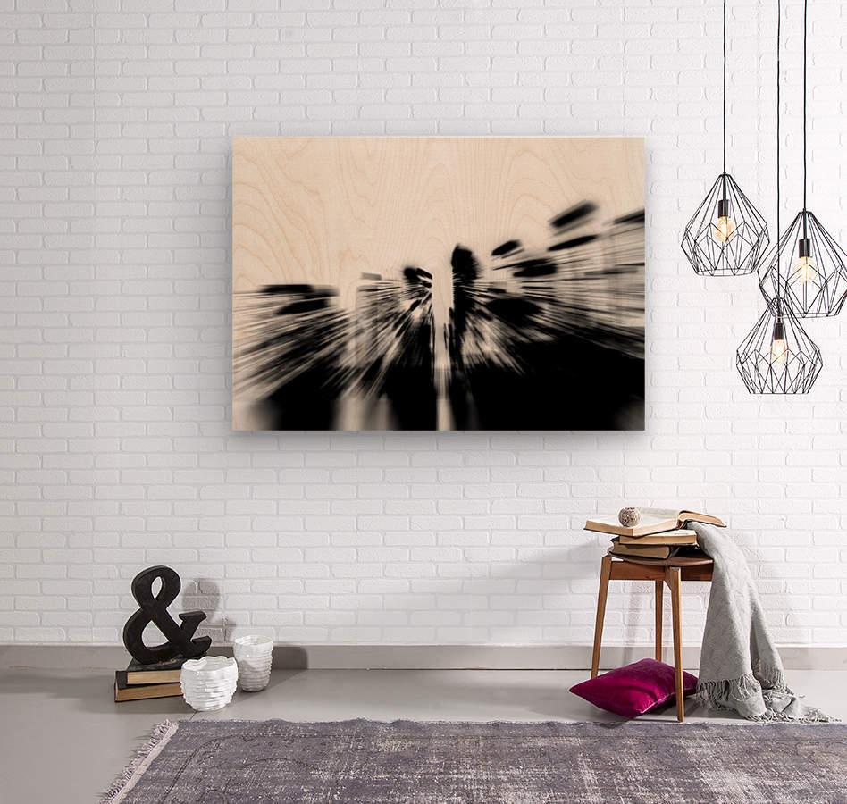 City radials in blackwhite  Wood print