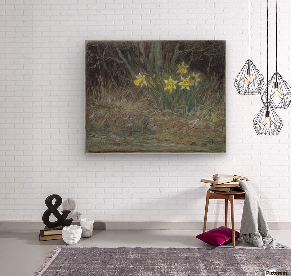 Narcissi and Violets  Wood print