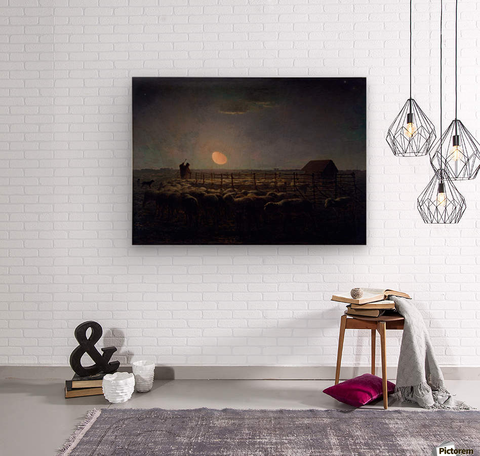 The Sheepfold, Moonlight  Wood print