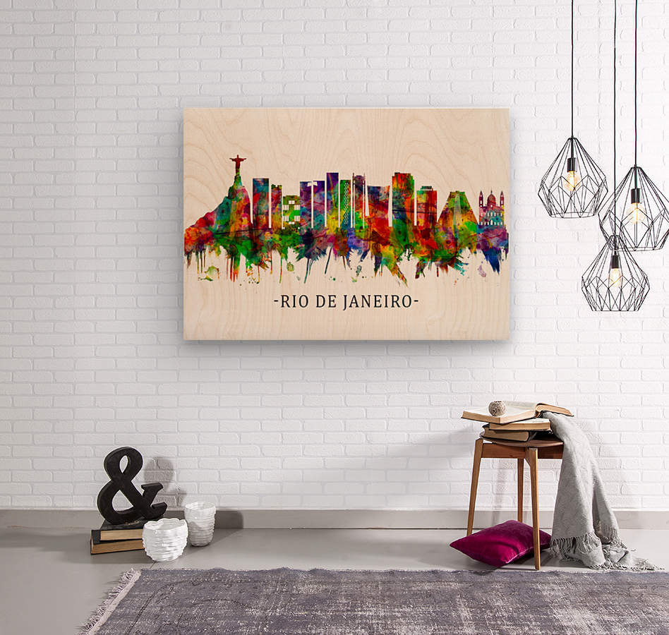Rio de Janeiro Brazil Skyline  Wood print