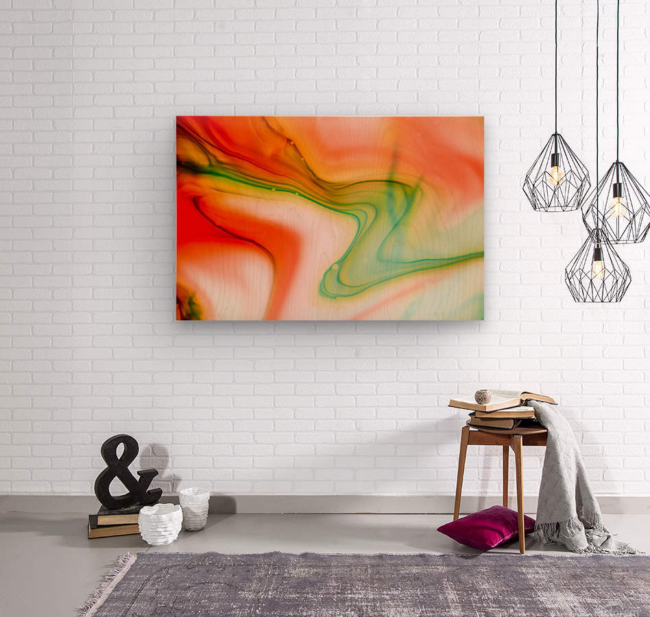 The colorful background of freeform floating watercolor  Wood print