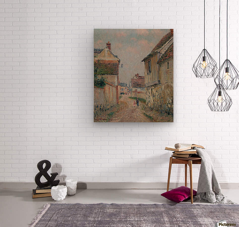 Mother and Child on the Street at Pontoise  Wood print