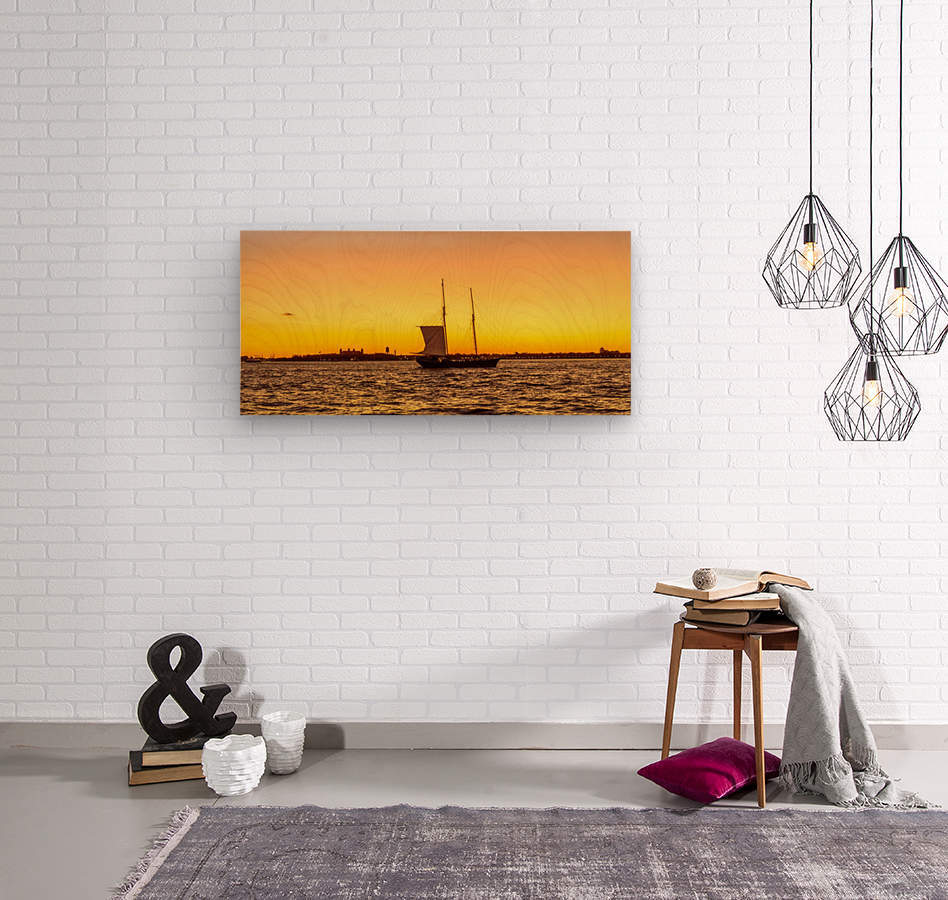 Sunset over the NY harbor  Wood print