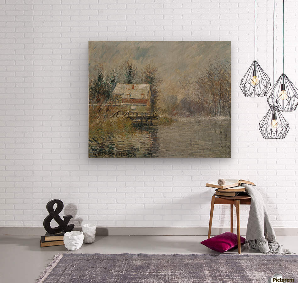 The House by the Water, Snow Effect  Wood print