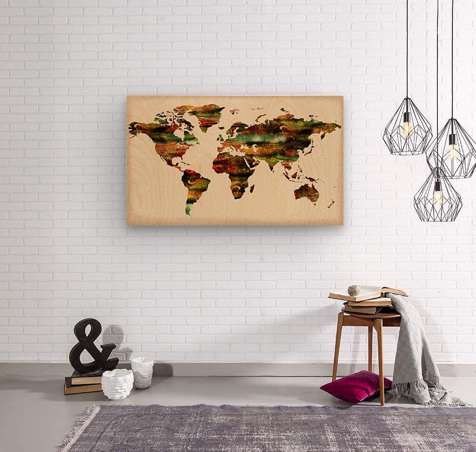 Watercolor World Map Vintage Brown  Wood print