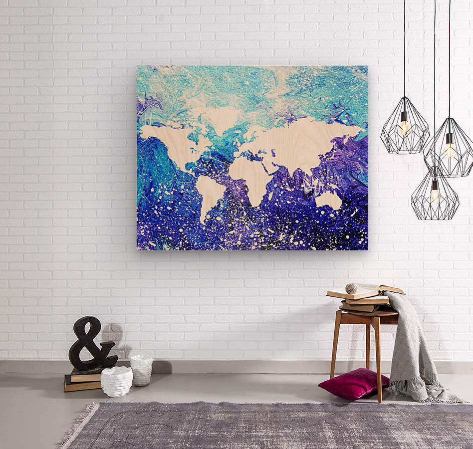 Watercolor Silhouette World Map Global Cooling   Wood print