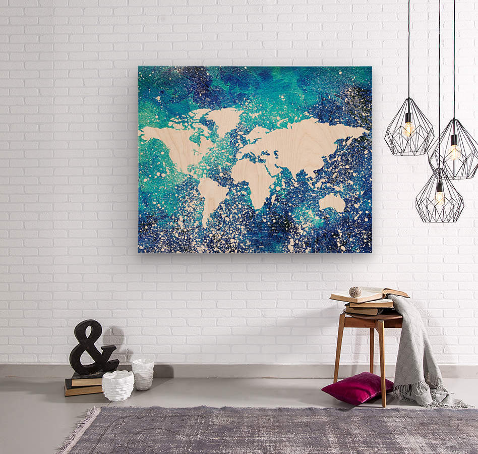 White And Teal Watercolor Silhouette World Map   Wood print