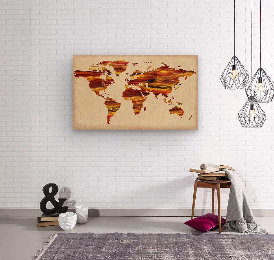 Watercolor Silhouette World Map Terra Lines  Wood print