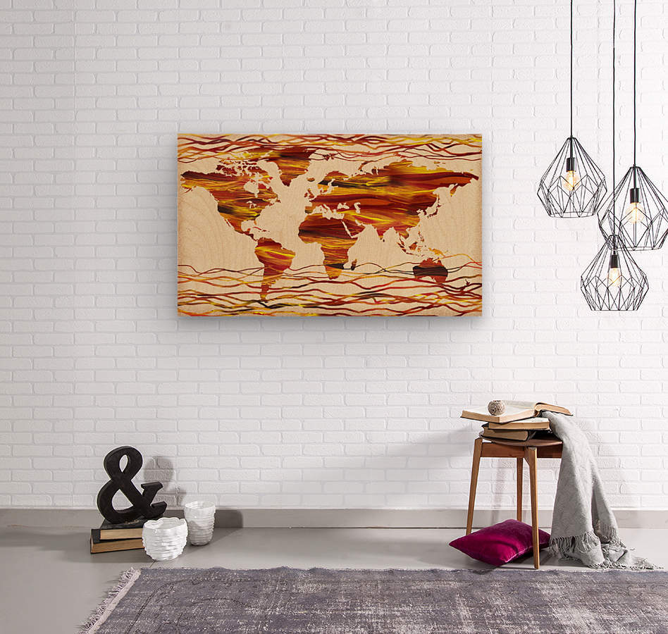 Watercolor Silhouette World Map Brown Beige Waves   Wood print