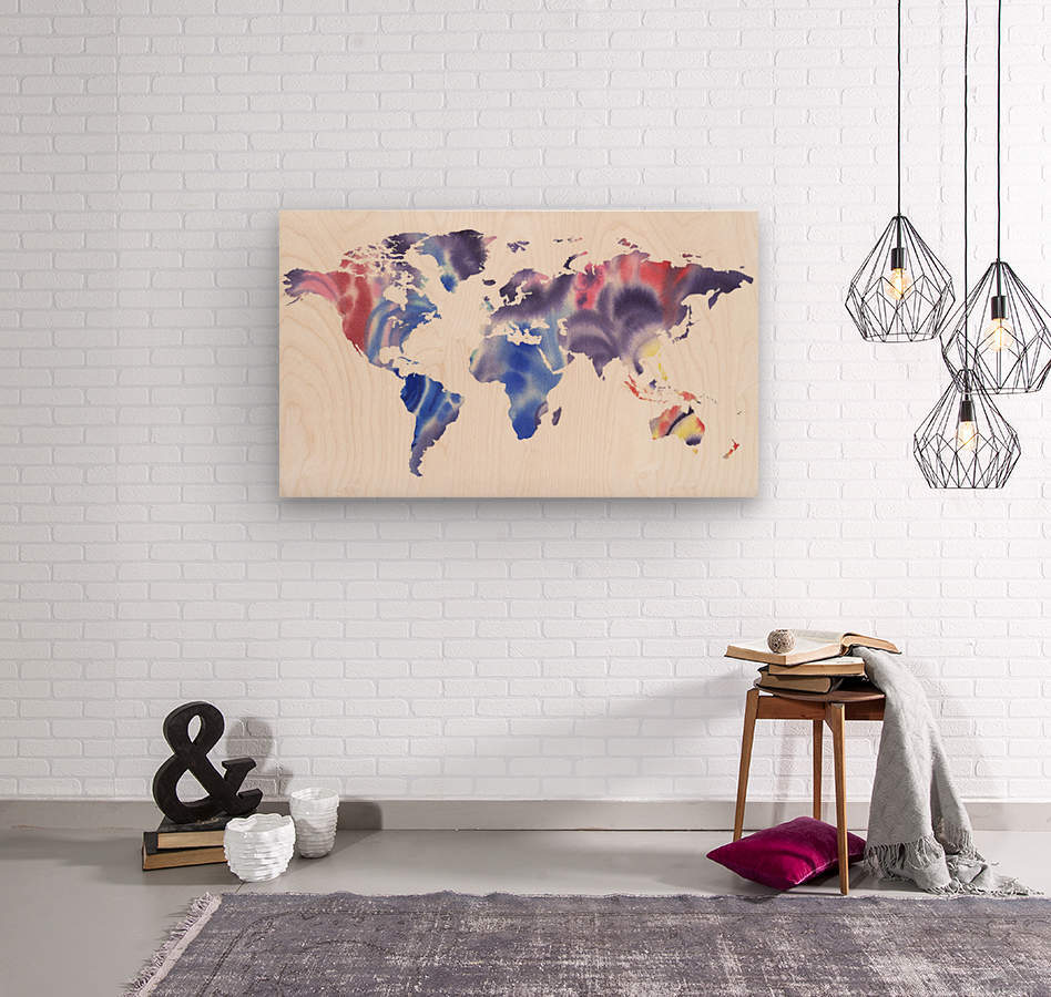 Watercolor Silhouette World Map Purple Blue  Wood print