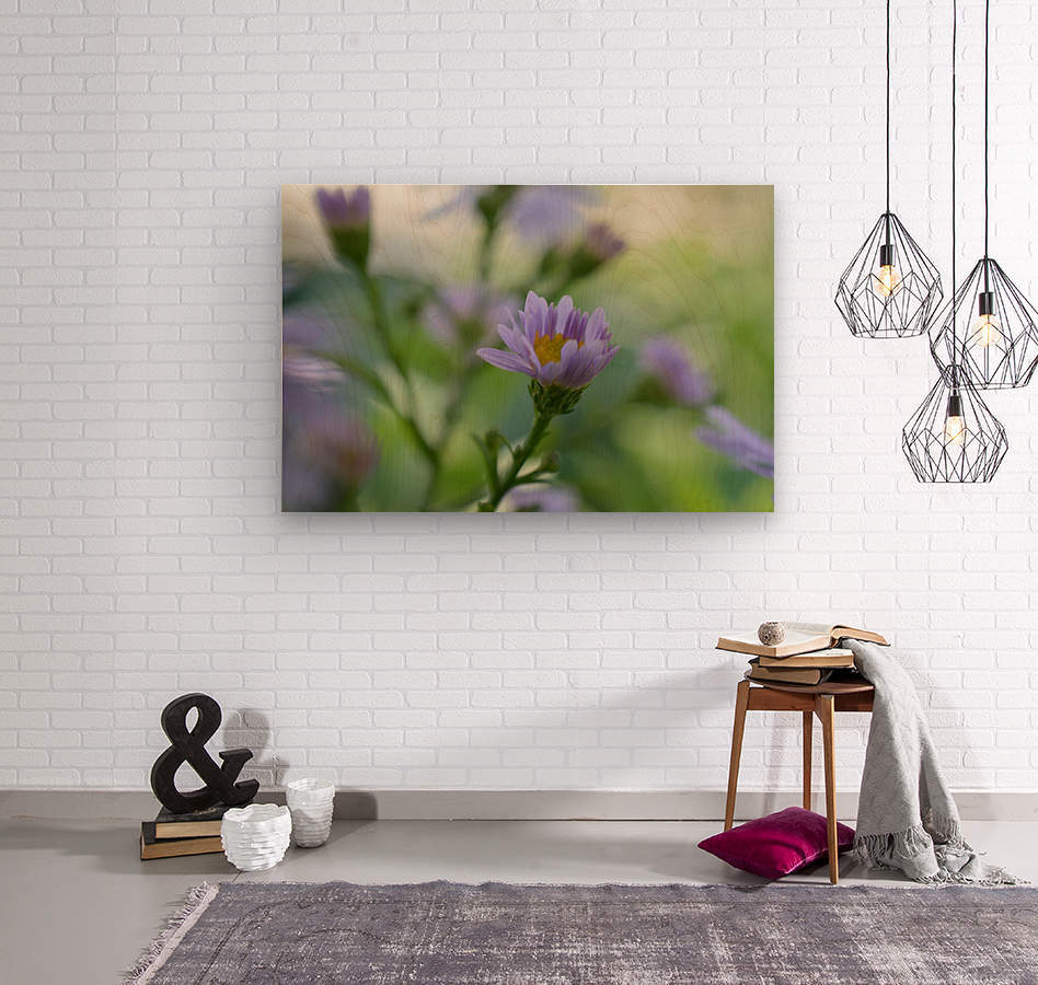 Blue Flowers Photograph  Wood print