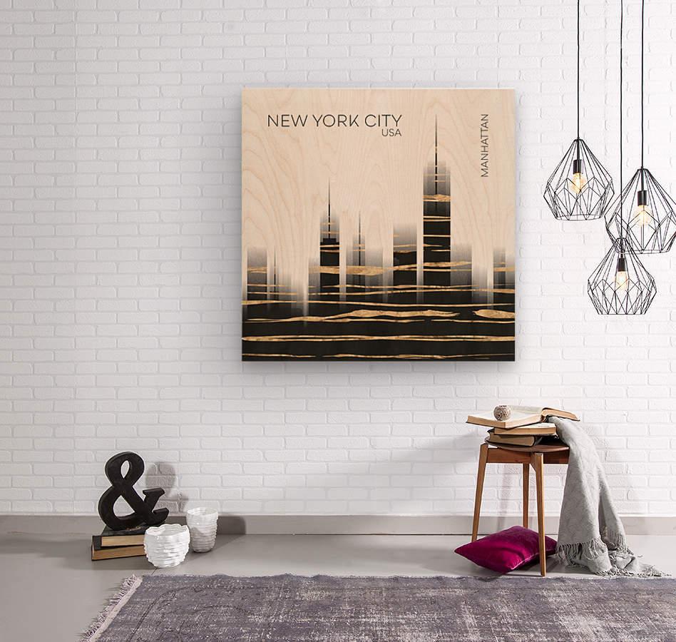 Urban Art NYC Skyline  Wood print