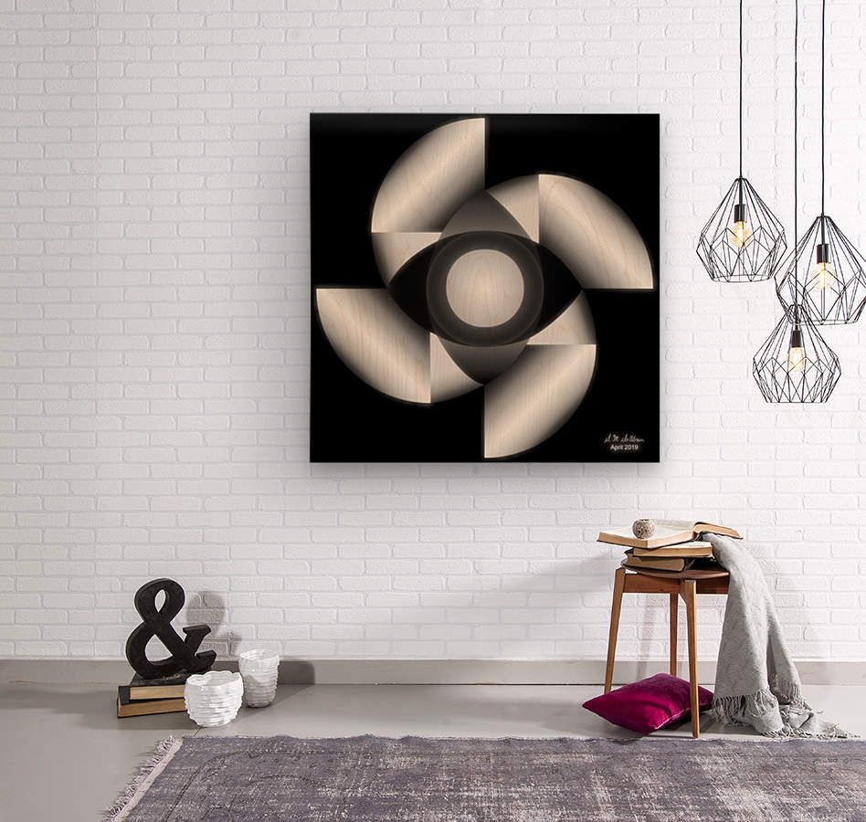 1-Golden Ratio B&W  Wood print