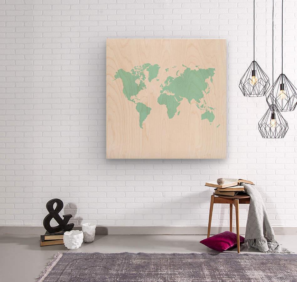 TURQUOISE SHADE WORLD MAP  Wood print