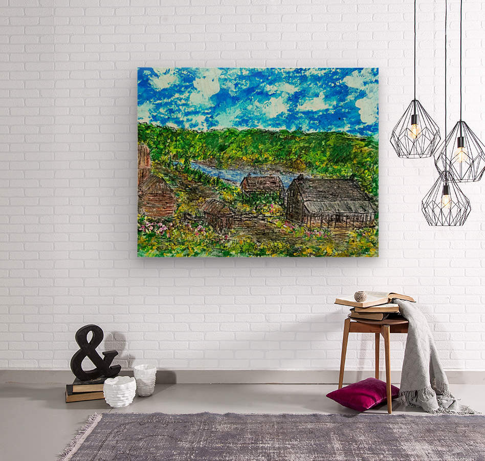 August  Along The River    Wood print