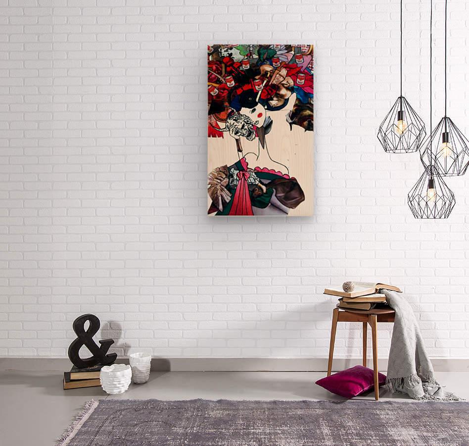 masked geisha  Wood print