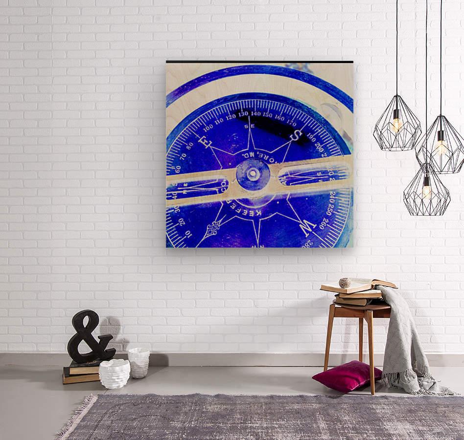 compass  Wood print