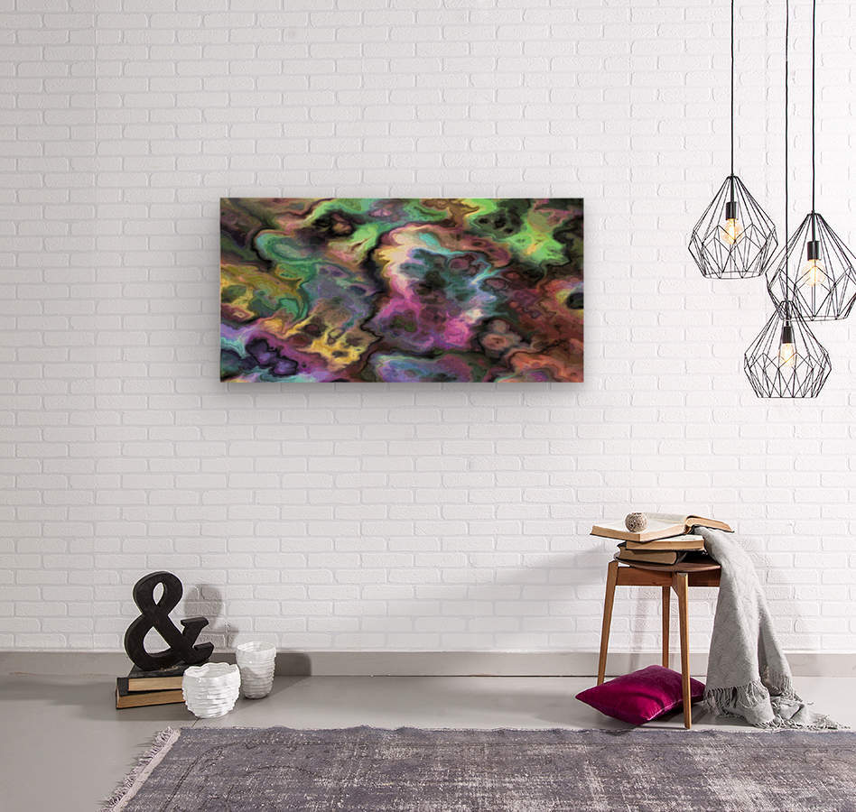 Dark Rainbow Marble multicolor abstract pattern wall art  Wood print