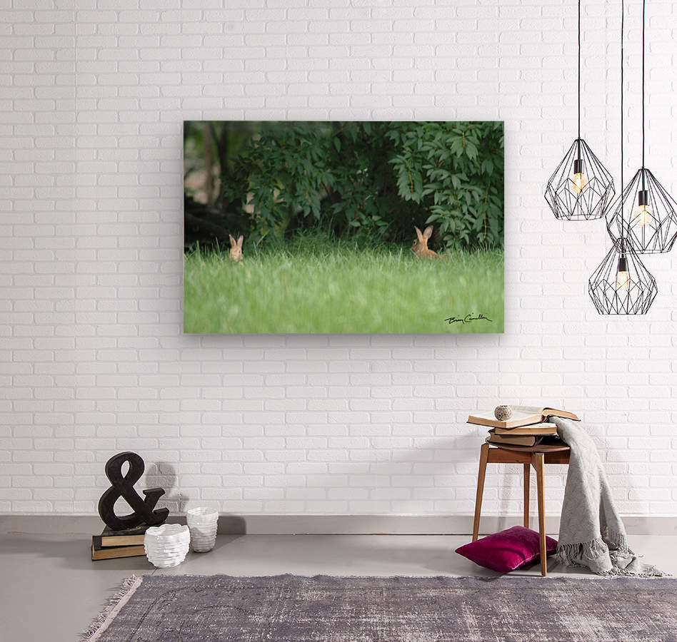 Bunnies Two  Wood print