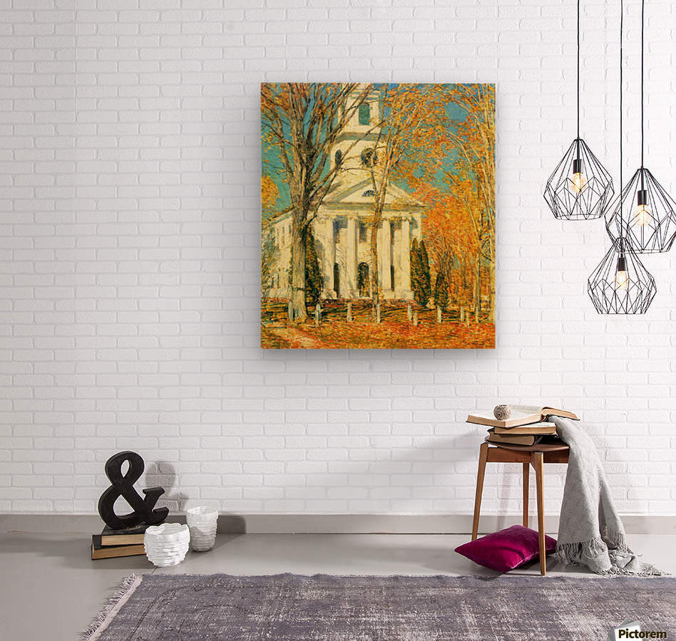 The Church of Old Lyme, Connecticut -2- by Hassam  Wood print