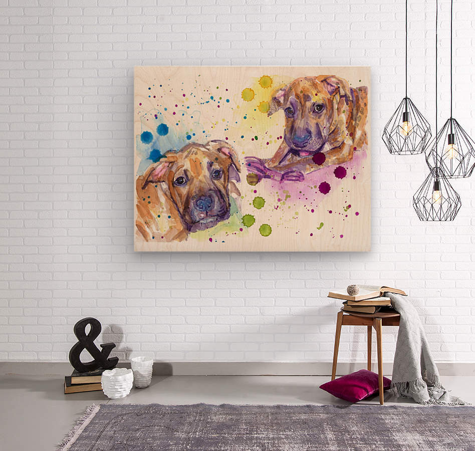 2 Colorful Dogs Brindle - Portrait of Emma and Louis  Wood print