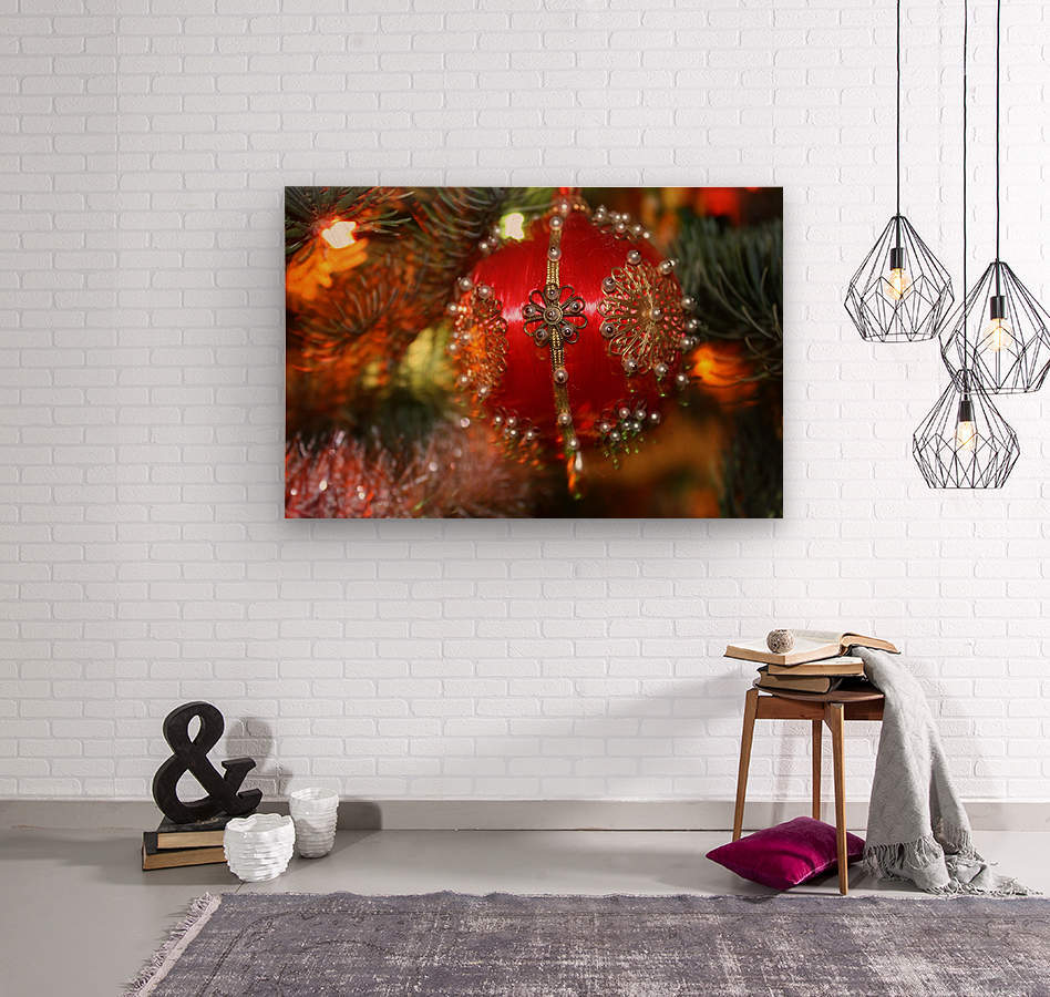 Festive Christmas holiday background with Santa Claus presents and tree.  Wood print