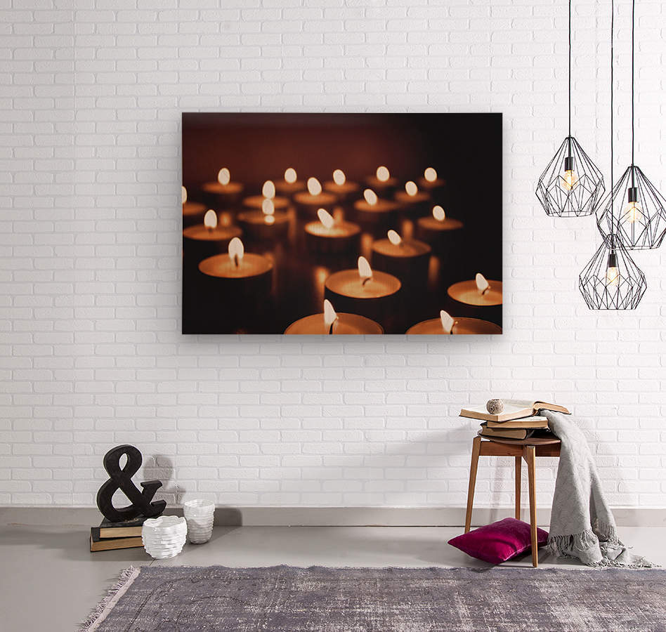 Candles on dark background  Wood print