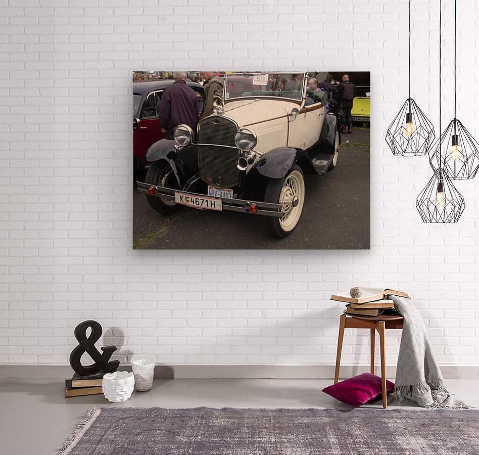 Vintage car in italian exposition  Wood print