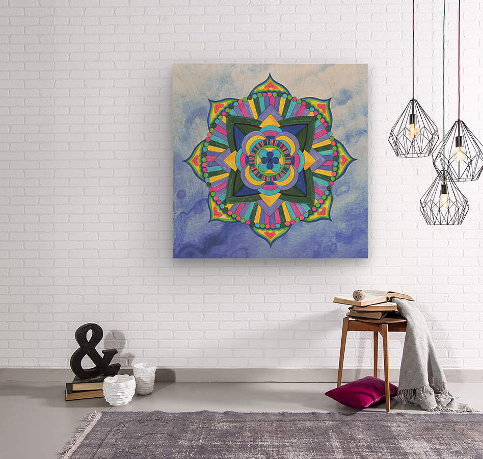 Hand Painted Mandala Watercolor Meditation on Blue  Wood print