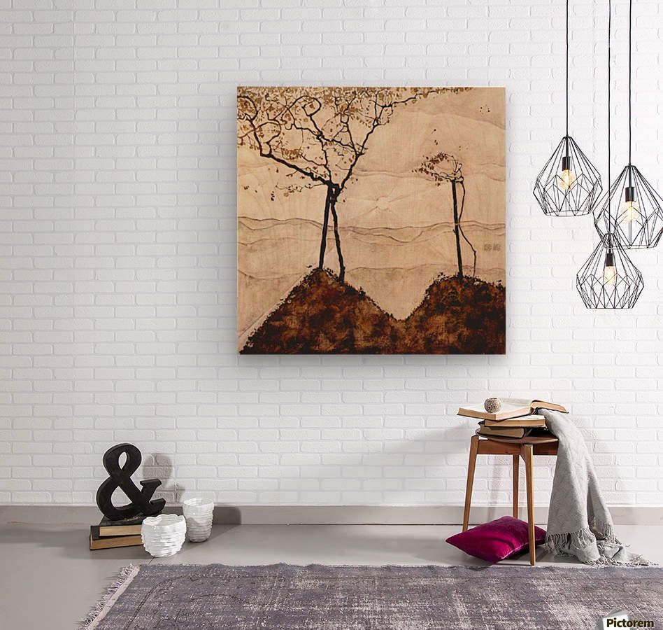 Autumn sun and trees by Schiele  Wood print