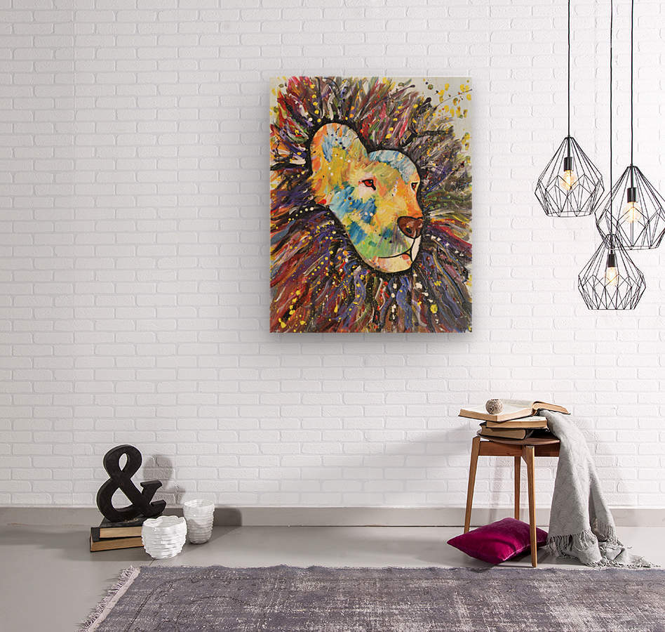 Lively Lion.Maggie Z  Wood print