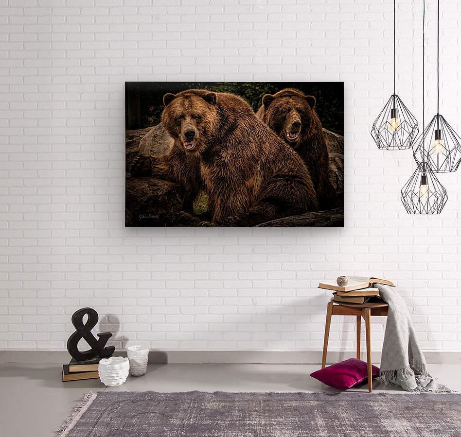 Brown Bear Brothers  Wood print