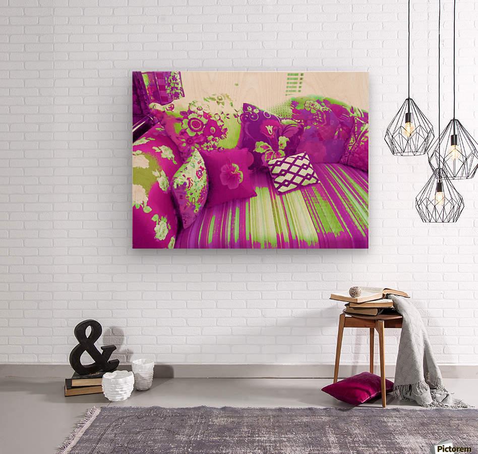 Sofa & Pillows -- Purple & Green  Wood print