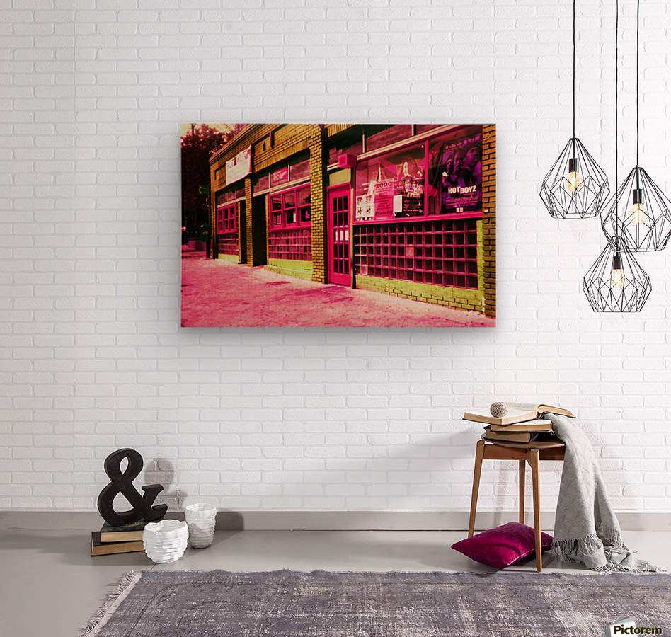 Atlanta Street Scene -- Red  Wood print