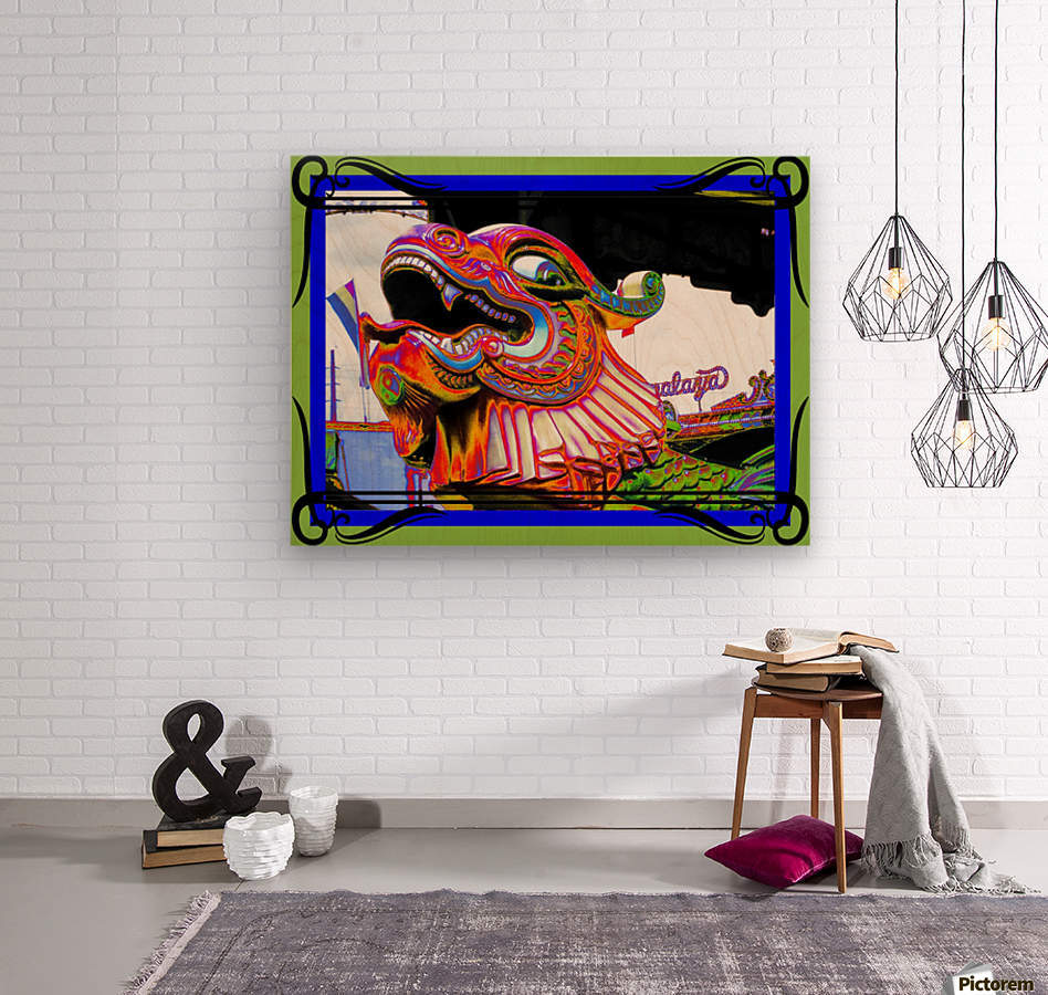 Carnival Creature in Bright Colors  Wood print