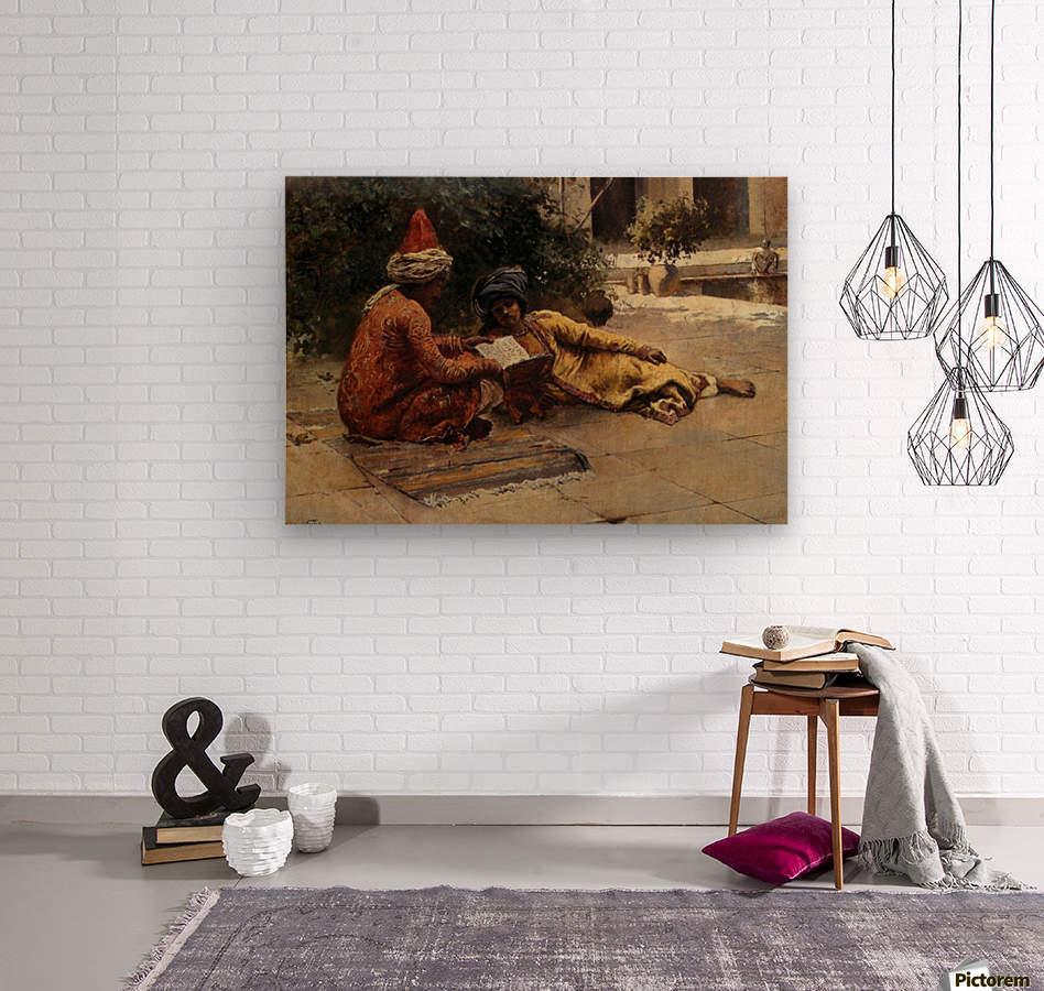Two Arabs Reading  Wood print