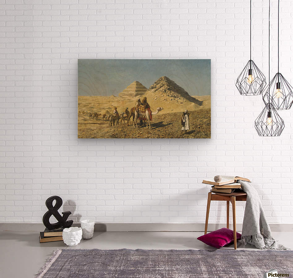 Caravan and pyramids  Wood print