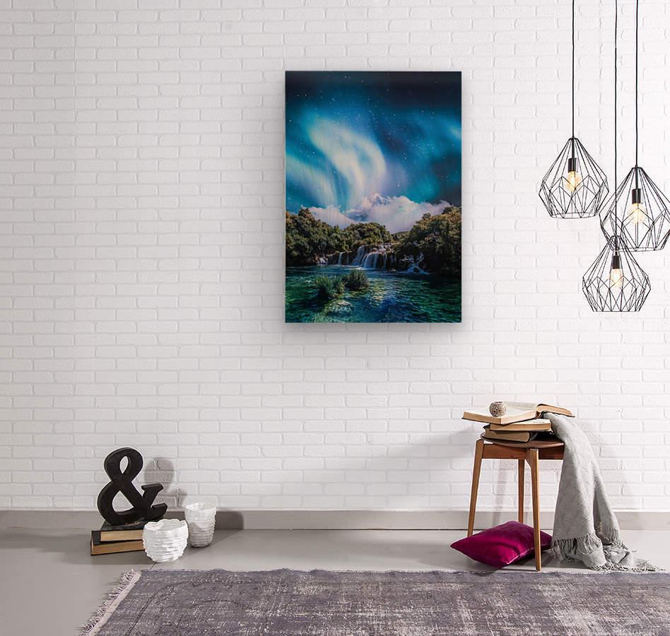 Aurora Polaris Over The Waterfall  Wood print