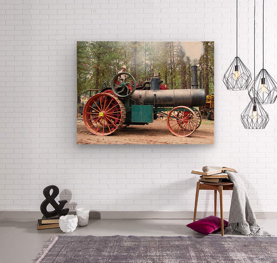 Logging Steam Tractor  Wood print