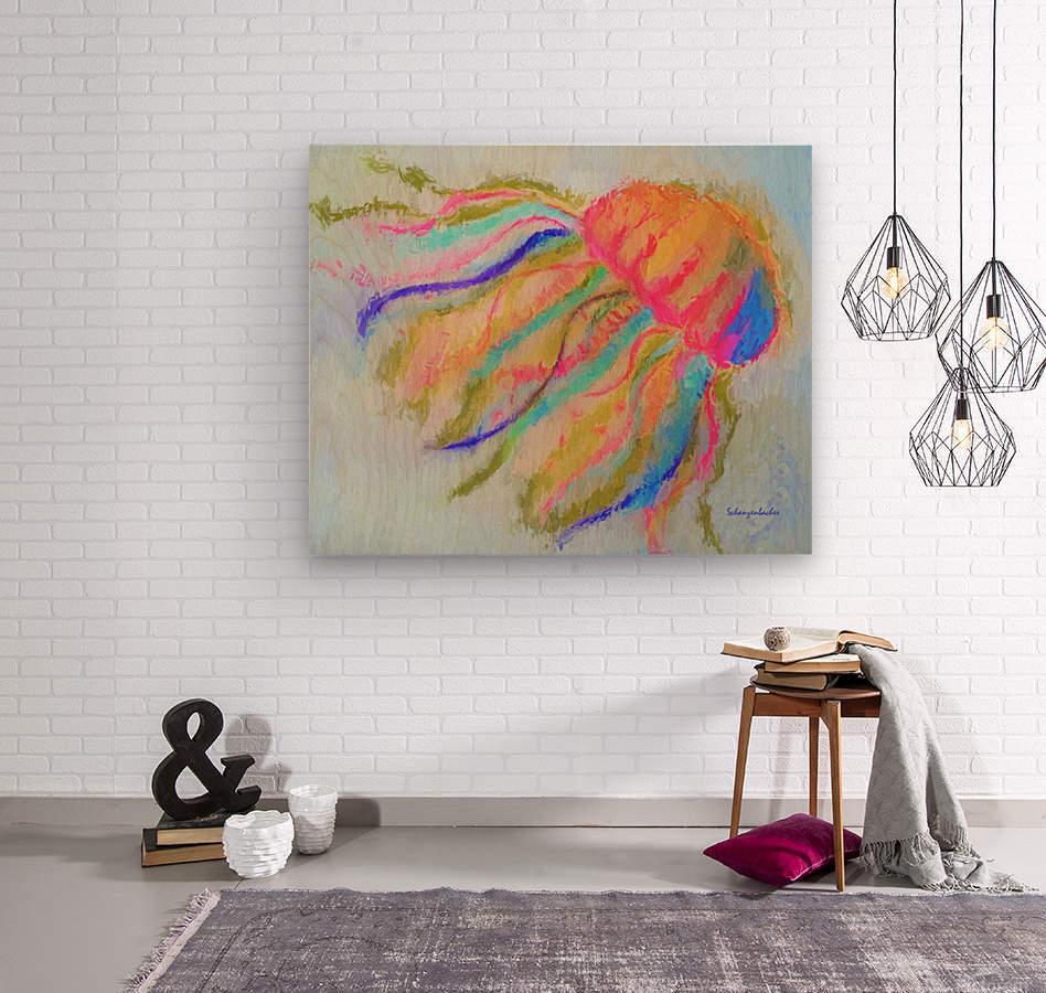 Jellyfish in watercolor  Wood print
