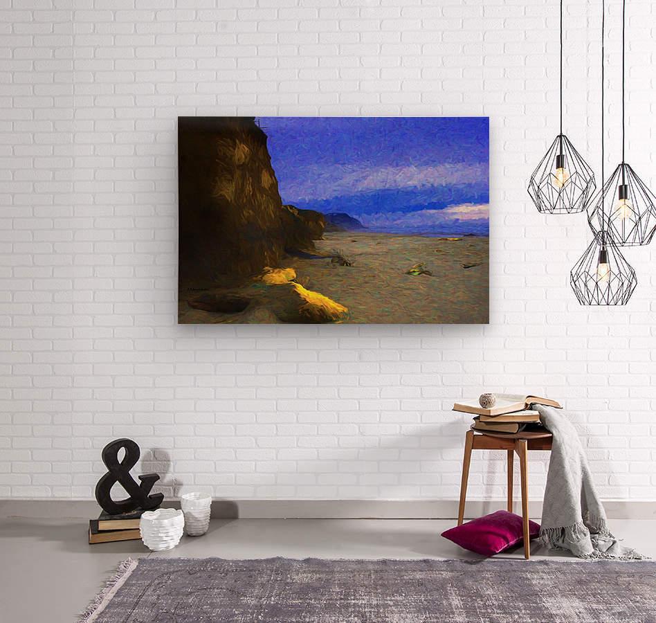 Yachats Beach Painting  Wood print